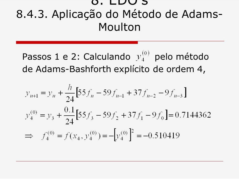 8. EDOs 8.4.3. Aplicação do Método de Adams- Moulton Passos 1 e 2: Calculando pelo método de Adams-Bashforth explícito de ordem 4,