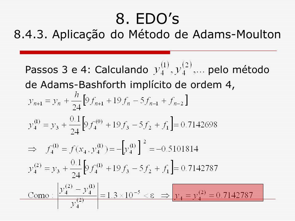 8. EDOs 8.4.3. Aplicação do Método de Adams-Moulton Passos 3 e 4: Calculando pelo método de Adams-Bashforth implícito de ordem 4,