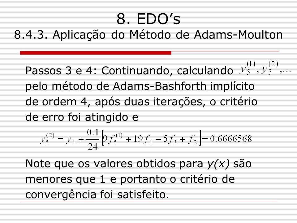 8. EDOs 8.4.3. Aplicação do Método de Adams-Moulton Passos 3 e 4: Continuando, calculando pelo método de Adams-Bashforth implícito de ordem 4, após du