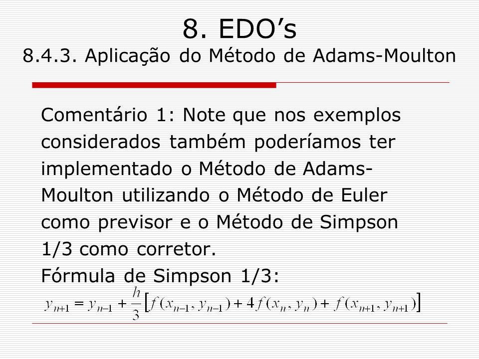 8. EDOs 8.4.3. Aplicação do Método de Adams-Moulton Comentário 1: Note que nos exemplos considerados também poderíamos ter implementado o Método de Ad