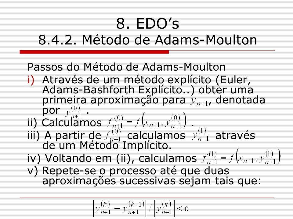 8. EDOs 8.4.2. Método de Adams-Moulton Passos do Método de Adams-Moulton i)Através de um método explícito (Euler, Adams-Bashforth Explícito..) obter u