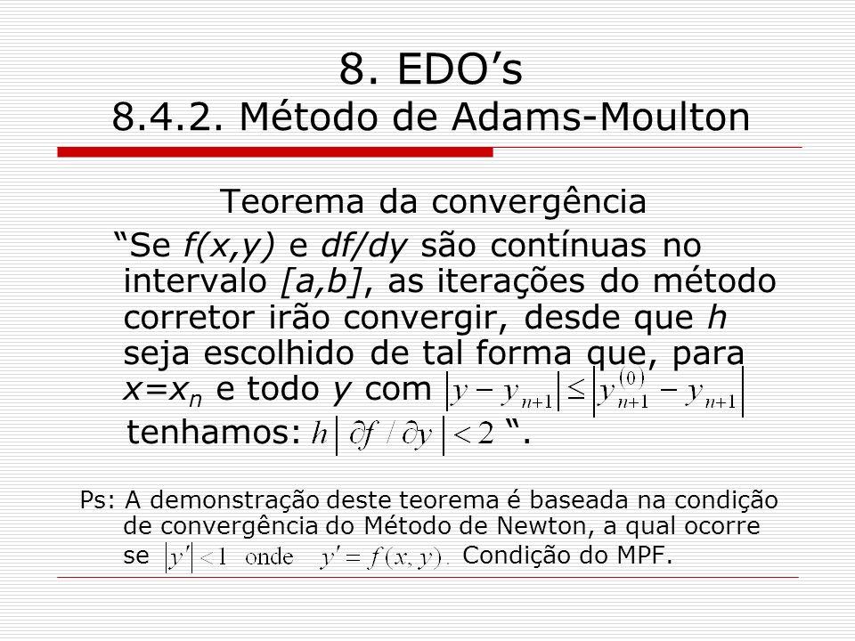 8. EDOs 8.4.2. Método de Adams-Moulton Teorema da convergência Se f(x,y) e df/dy são contínuas no intervalo [a,b], as iterações do método corretor irã