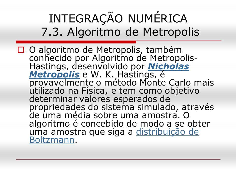 INTEGRAÇÃO NUMÉRICA 7.3. Algoritmo de Metropolis O algoritmo de Metropolis, também conhecido por Algoritmo de Metropolis- Hastings, desenvolvido por N