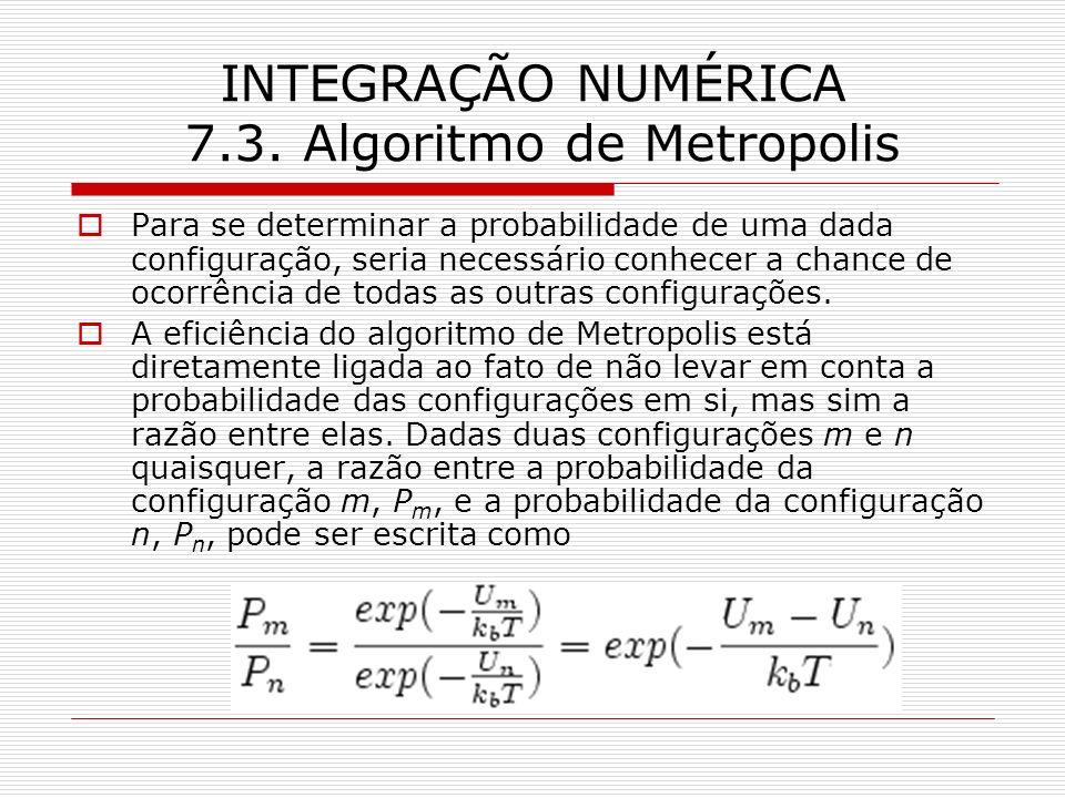 INTEGRAÇÃO NUMÉRICA 7.3. Algoritmo de Metropolis Para se determinar a probabilidade de uma dada configuração, seria necessário conhecer a chance de oc