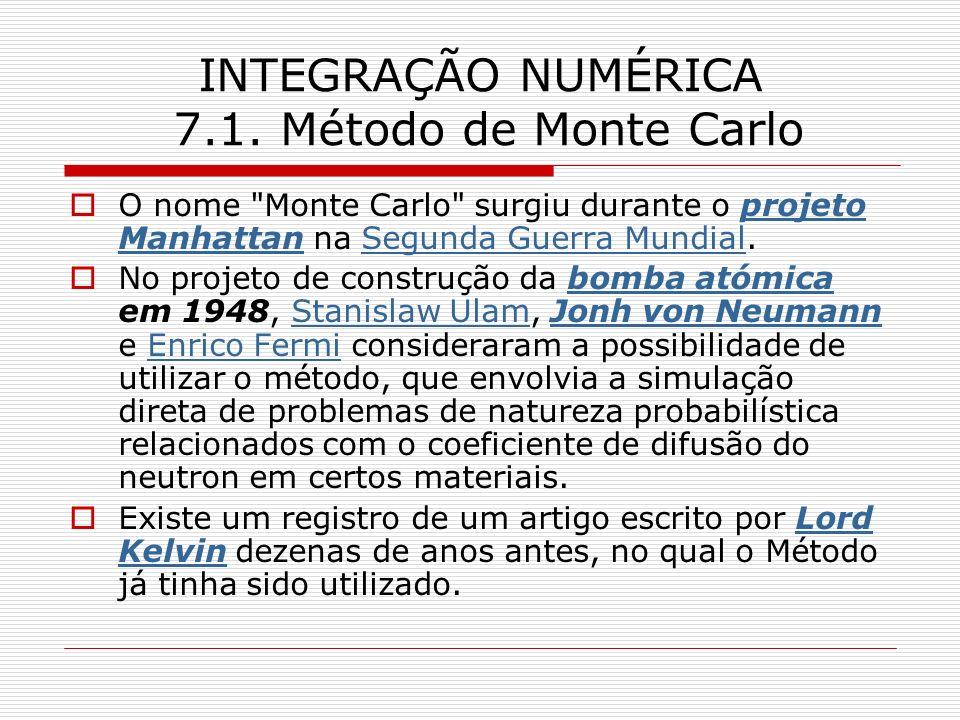 INTEGRAÇÃO NUMÉRICA 7.1. Método de Monte Carlo O nome