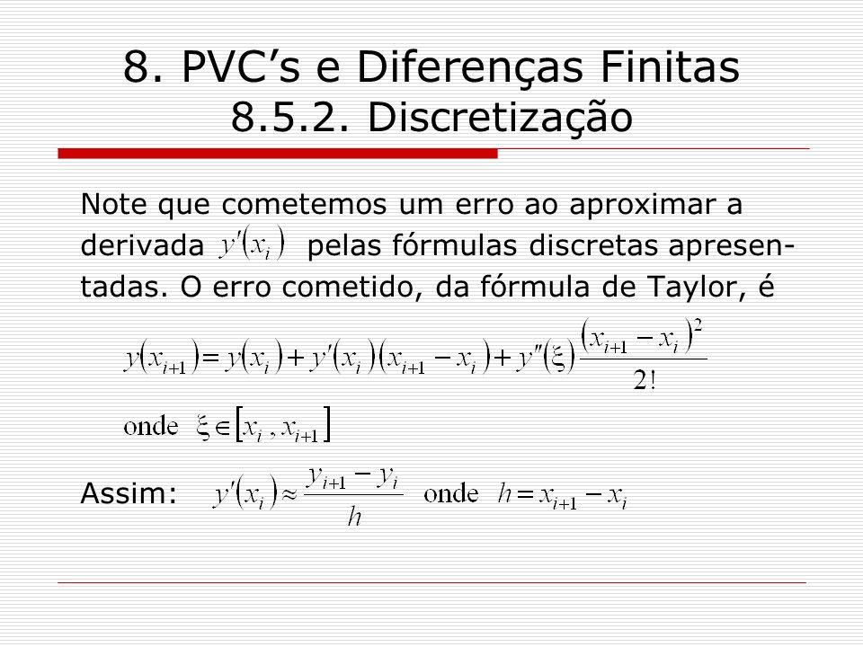 8. PVCs e Diferenças Finitas 8.5.2. Discretização Note que cometemos um erro ao aproximar a derivada pelas fórmulas discretas apresen- tadas. O erro c