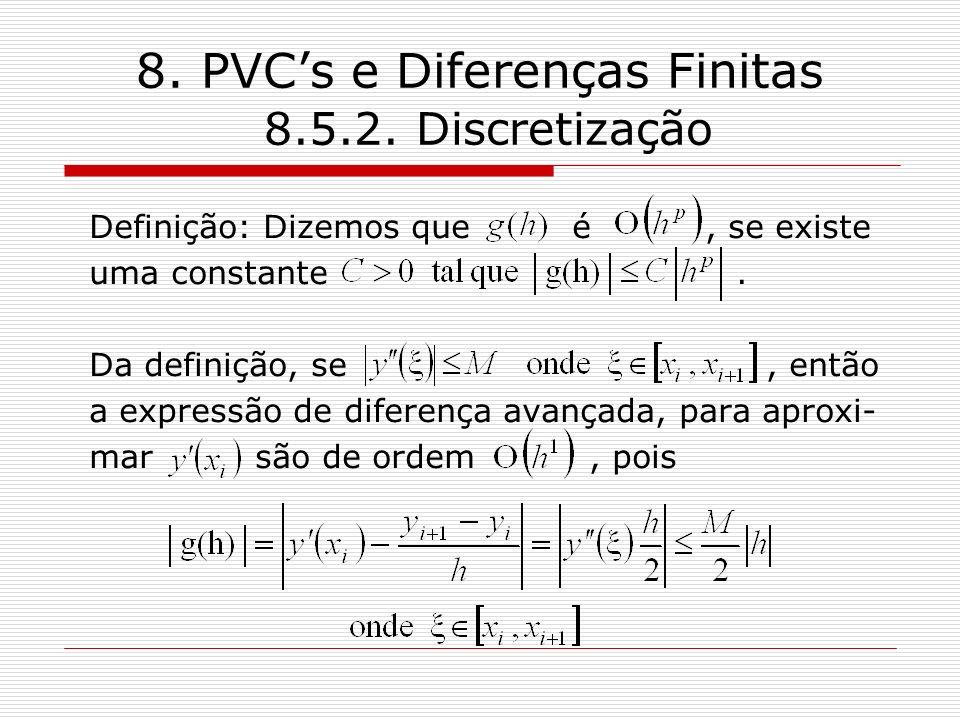 8. PVCs e Diferenças Finitas 8.5.2. Discretização Definição: Dizemos que é, se existe uma constante. Da definição, se, então a expressão de diferença