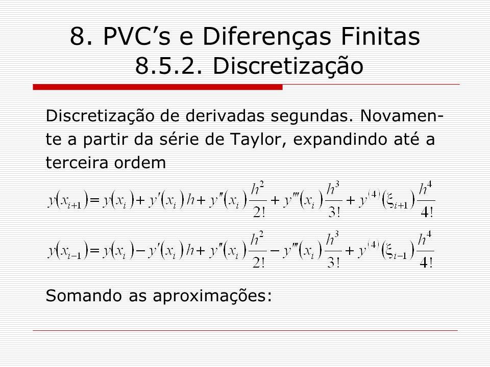 8. PVCs e Diferenças Finitas 8.5.2. Discretização Discretização de derivadas segundas. Novamen- te a partir da série de Taylor, expandindo até a terce