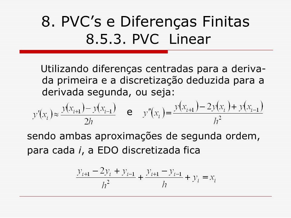 8. PVCs e Diferenças Finitas 8.5.3. PVC Linear Utilizando diferenças centradas para a deriva- da primeira e a discretização deduzida para a derivada s
