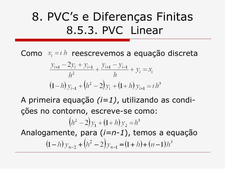 8. PVCs e Diferenças Finitas 8.5.3. PVC Linear Como reescrevemos a equação discreta A primeira equação (i=1), utilizando as condi- ções no contorno, e