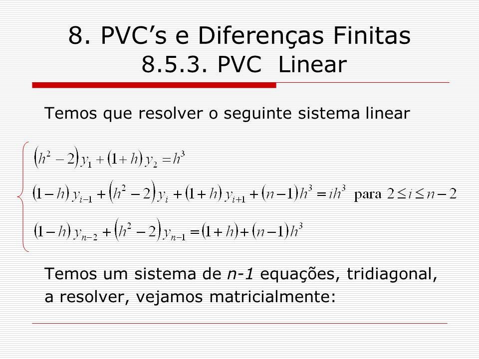 8. PVCs e Diferenças Finitas 8.5.3. PVC Linear Temos que resolver o seguinte sistema linear Temos um sistema de n-1 equações, tridiagonal, a resolver,