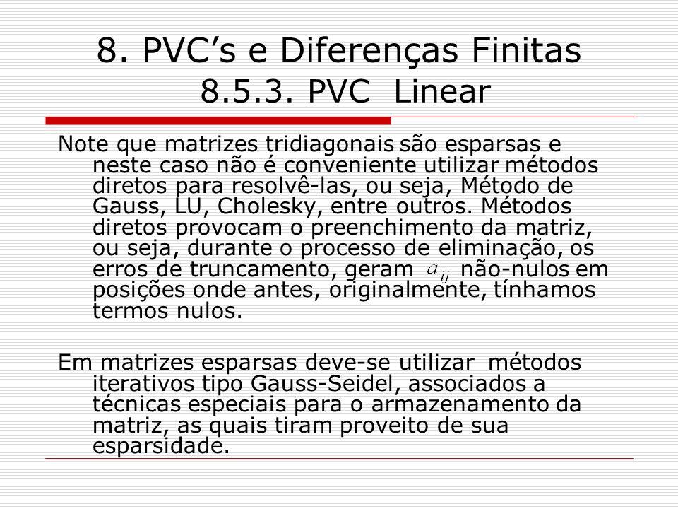 8. PVCs e Diferenças Finitas 8.5.3. PVC Linear Note que matrizes tridiagonais são esparsas e neste caso não é conveniente utilizar métodos diretos par