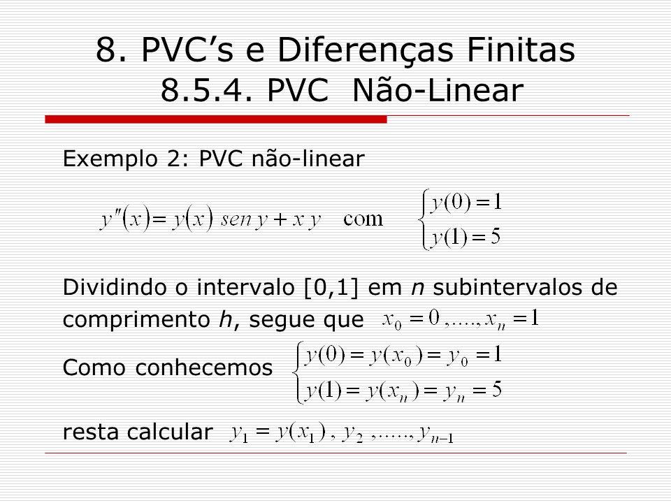 8. PVCs e Diferenças Finitas 8.5.4. PVC Não-Linear Exemplo 2: PVC não-linear Dividindo o intervalo [0,1] em n subintervalos de comprimento h, segue qu