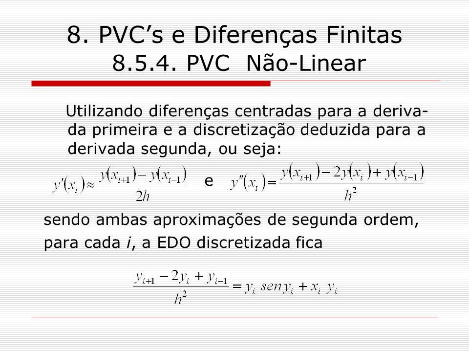 8. PVCs e Diferenças Finitas 8.5.4. PVC Não-Linear Utilizando diferenças centradas para a deriva- da primeira e a discretização deduzida para a deriva