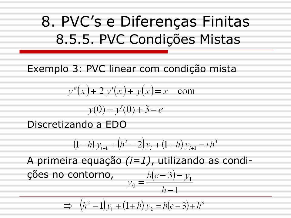 8. PVCs e Diferenças Finitas 8.5.5. PVC Condições Mistas Exemplo 3: PVC linear com condição mista Discretizando a EDO A primeira equação (i=1), utiliz
