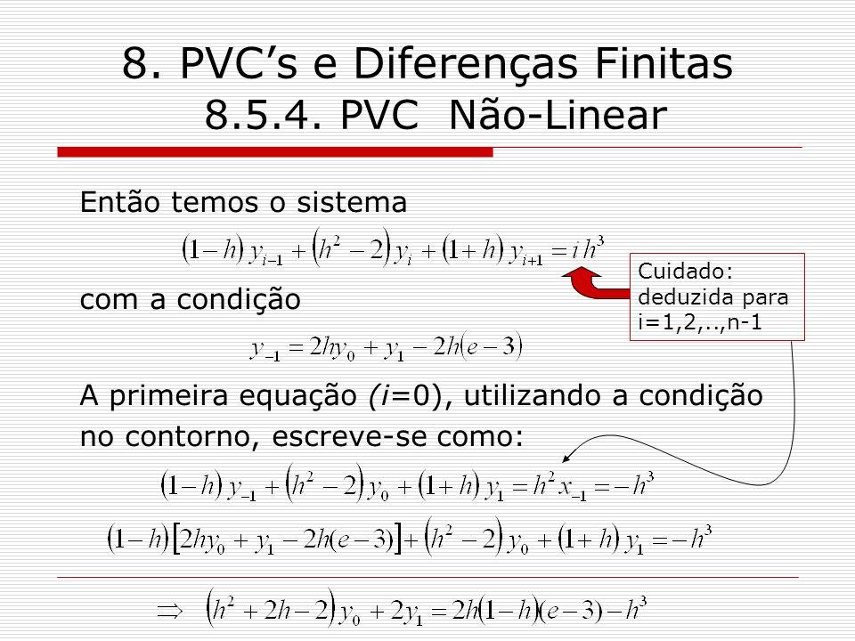 8. PVCs e Diferenças Finitas 8.5.4. PVC Não-Linear Então temos o sistema com a condição A primeira equação (i=0), utilizando a condição no contorno, e