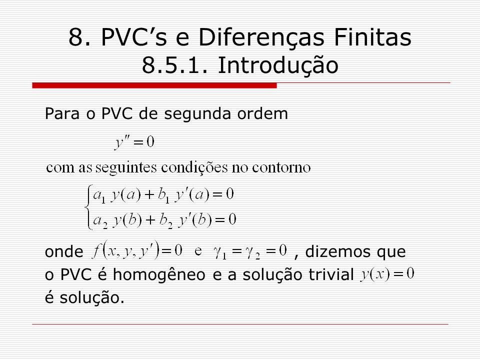8. PVCs e Diferenças Finitas 8.5.1. Introdução Para o PVC de segunda ordem onde, dizemos que o PVC é homogêneo e a solução trivial é solução.