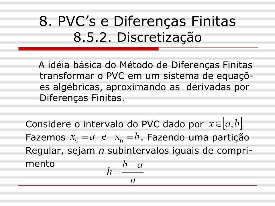 8. PVCs e Diferenças Finitas 8.5.2. Discretização A idéia básica do Método de Diferenças Finitas transformar o PVC em um sistema de equaçõ- es algébri