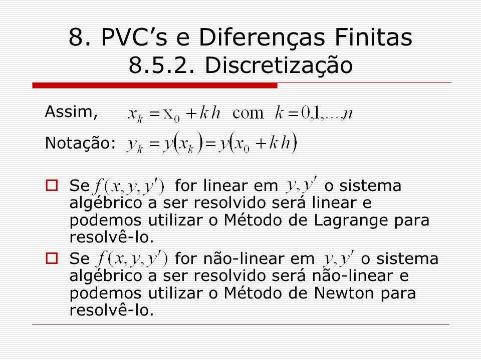 8. PVCs e Diferenças Finitas 8.5.2. Discretização Assim, Notação: Se for linear em o sistema algébrico a ser resolvido será linear e podemos utilizar