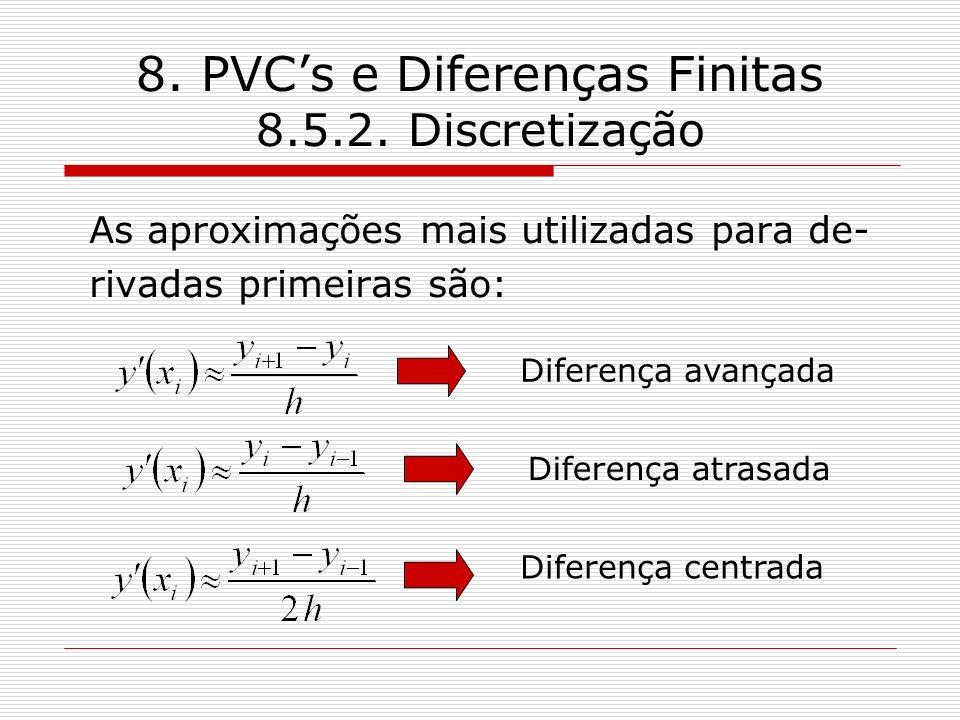 8. PVCs e Diferenças Finitas 8.5.2. Discretização As aproximações mais utilizadas para de- rivadas primeiras são: Diferença avançada Diferença atrasad