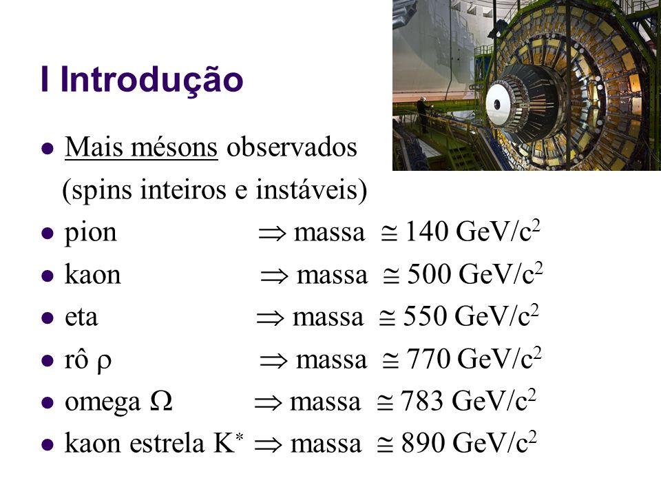 I Introdução mais bárions observados (instáveis, exceto o próton): próton & nêutron (p,n)m = 940 MeV/c 2 delta m = 1232 MeV/c 2 sigma m 1190 MeV/c 2 lambda m 1115 MeV/c 2 cascata m 1320 MeV/c 2