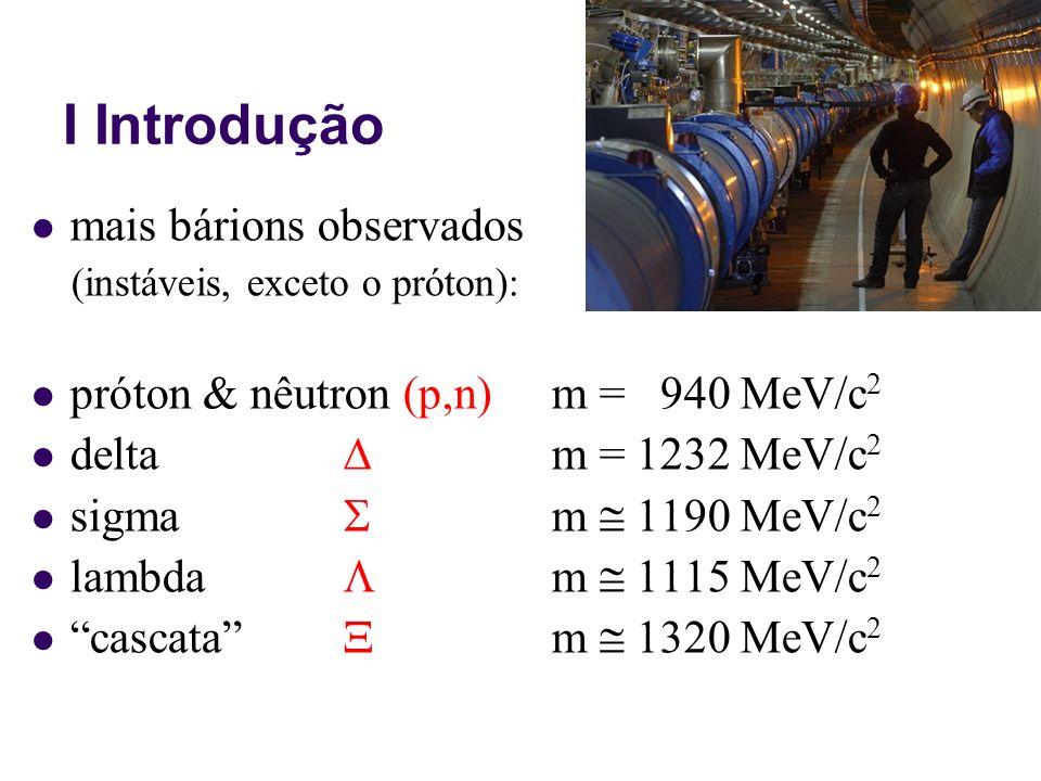 I Introdução Uma nova propriedade das partículas foi descoberta, a estranheza, que é uma característica intrínseca da partícula, como a sua massa e sua carga elétrica, por exemplo.