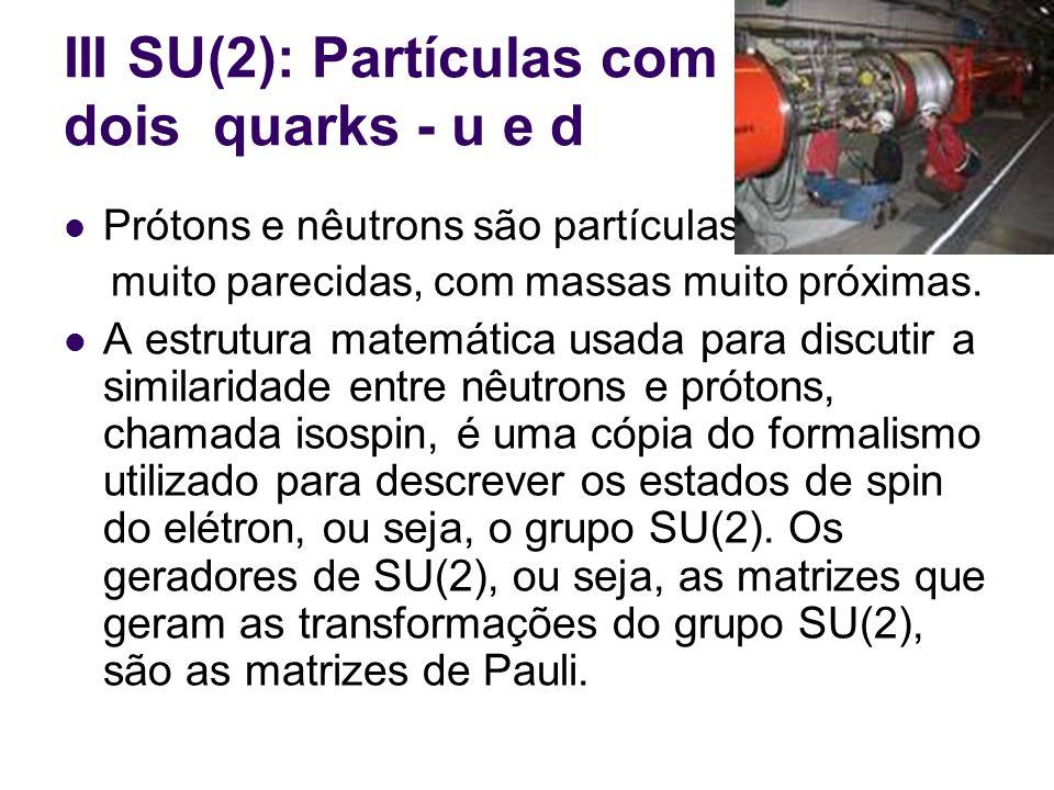 III SU(2): Partículas com dois sabores de quarks - u e d Analisemos a interação entre quarks e Por convenção, o quark é representado por um estado de isospin e projeção, enquanto o quark é representado por um estado de isospin e projeção.