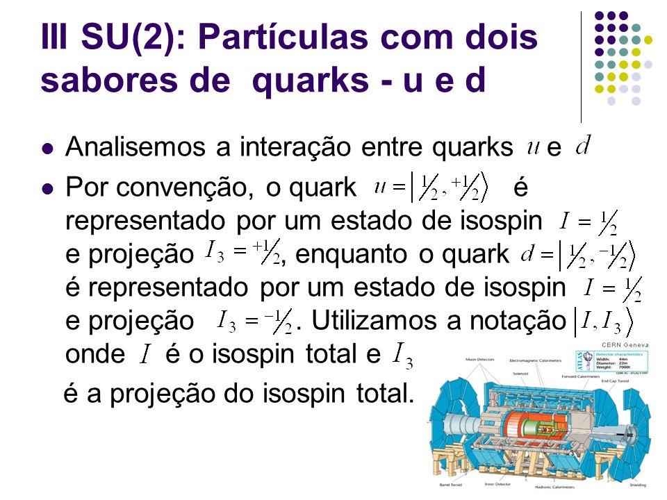 III SU(2): Partículas com dois sabores de quarks - u e d Tripleto de estados Singleto de estados com