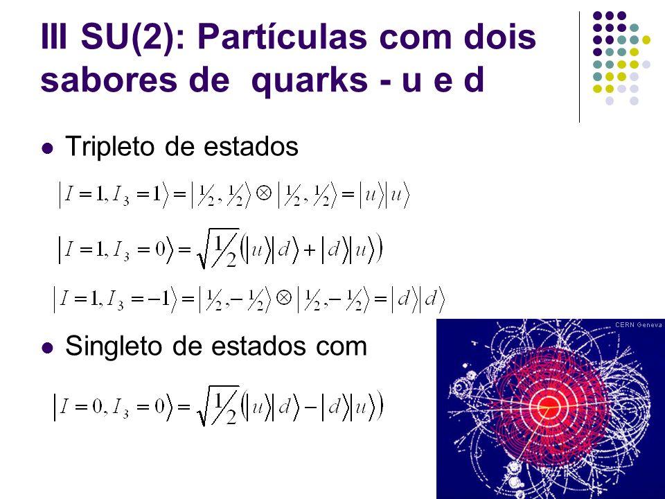 III SU(2): Partículas com dois sabores de quarks - u e d Tripleto de estados com Singleto de estados com Utilizando a notação (2S+1), temos Estados tripletos Estado singleto