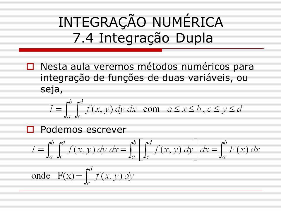 INTEGRAÇÃO NUMÉRICA 7.4 Integração Dupla Nesta aula veremos métodos numéricos para integração de funções de duas variáveis, ou seja, Podemos escrever