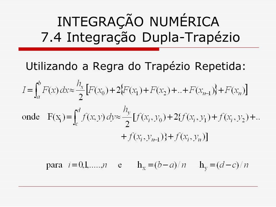 INTEGRAÇÃO NUMÉRICA 7.4 Integração Dupla-Trapézio Utilizando a Regra do Trapézio Repetida: