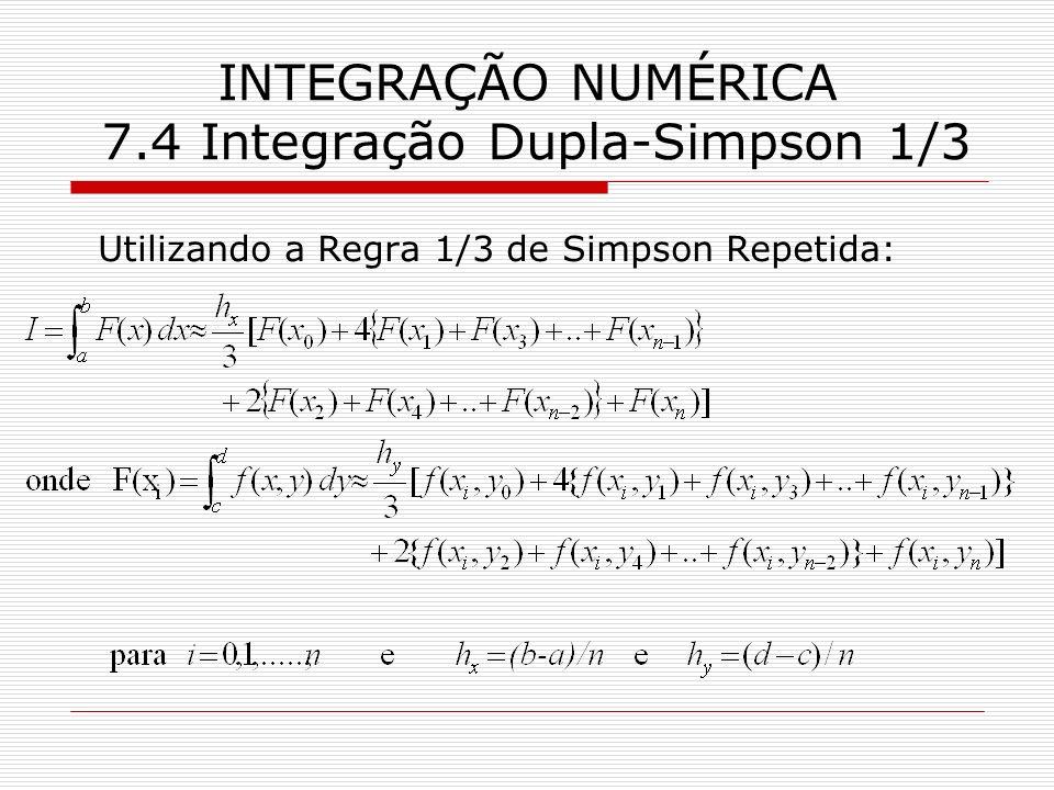 INTEGRAÇÃO NUMÉRICA 7.4 Integração Dupla-Simpson 1/3 Utilizando a Regra 1/3 de Simpson Repetida: