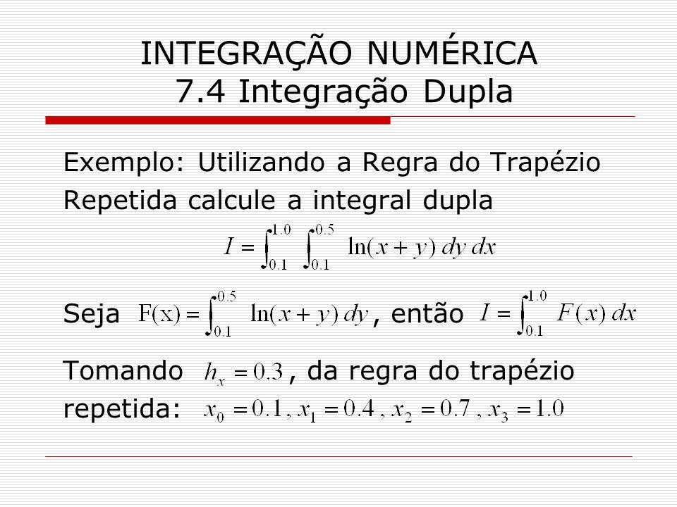 INTEGRAÇÃO NUMÉRICA 7.4 Integração Dupla Exemplo: Utilizando a Regra do Trapézio Repetida calcule a integral dupla Seja, então Tomando, da regra do tr