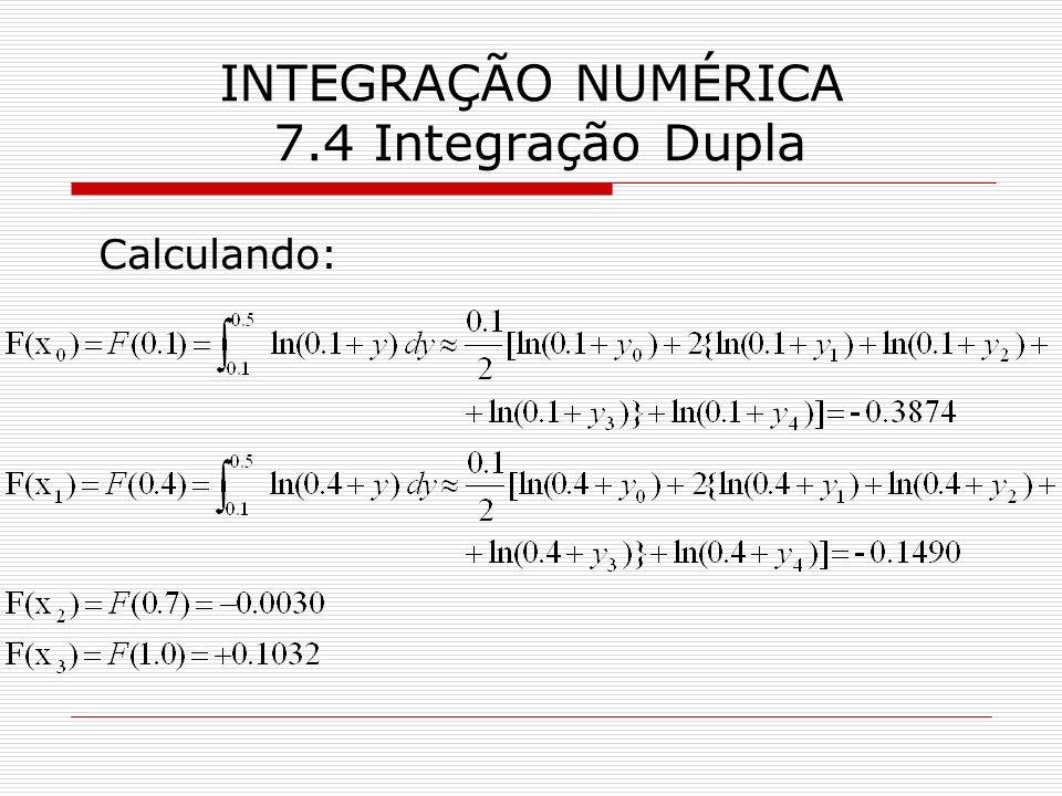 INTEGRAÇÃO NUMÉRICA 7.4 Integração Dupla Calculando: