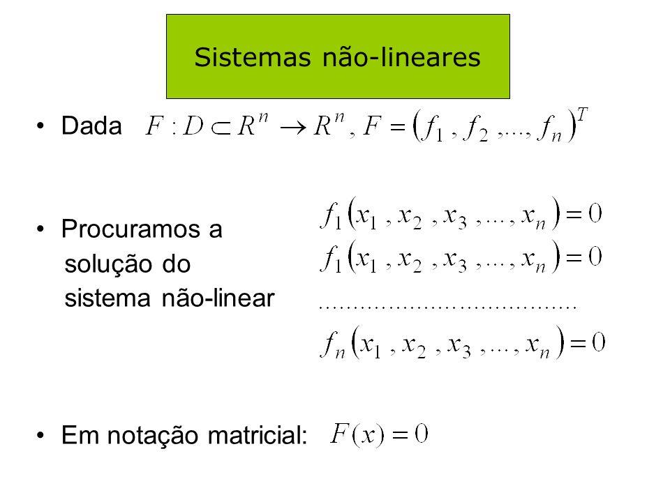 MÉTODO DE NEWTON – Exemplo Passo 1: Comentário: Note que no processo de resolução de sistemas não-lineares, devemos resolver um sistema linear a cada iteração.