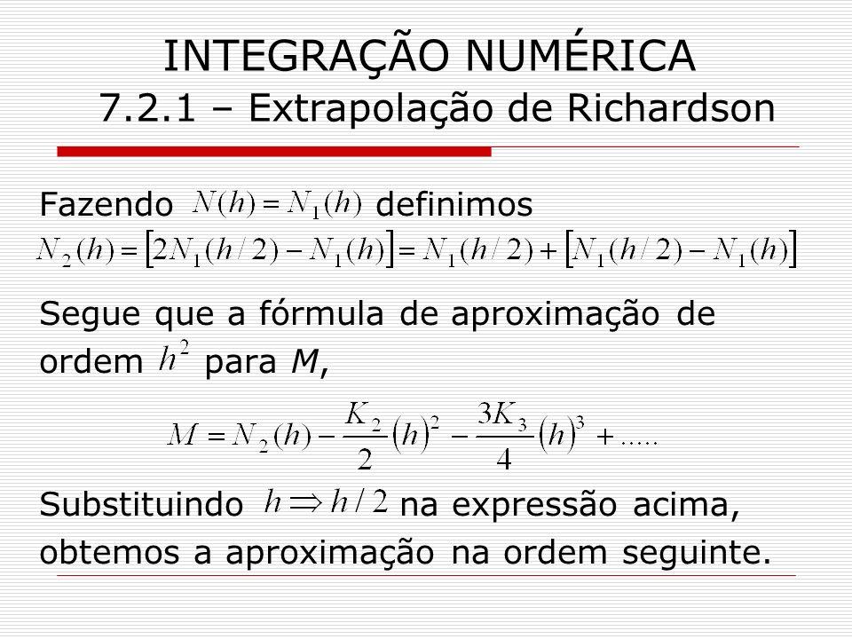 INTEGRAÇÃO NUMÉRICA 7.2.1 – Extrapolação de Richardson Fazendo definimos Segue que a fórmula de aproximação de ordem para M, Substituindo na expressão