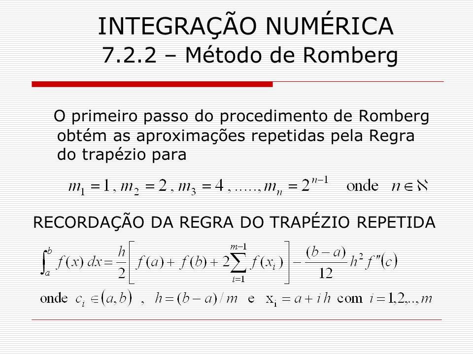 INTEGRAÇÃO NUMÉRICA 7.2.2 – Método de Romberg O primeiro passo do procedimento de Romberg obtém as aproximações repetidas pela Regra do trapézio para