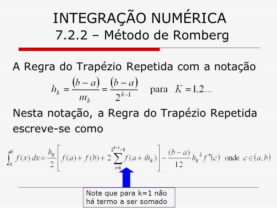 INTEGRAÇÃO NUMÉRICA 7.2.2 – Método de Romberg A Regra do Trapézio Repetida com a notação Nesta notação, a Regra do Trapézio Repetida escreve-se como N