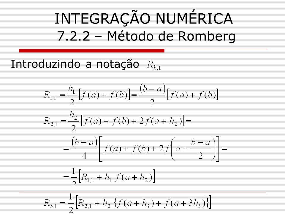 INTEGRAÇÃO NUMÉRICA 7.2.2 – Método de Romberg Introduzindo a notação