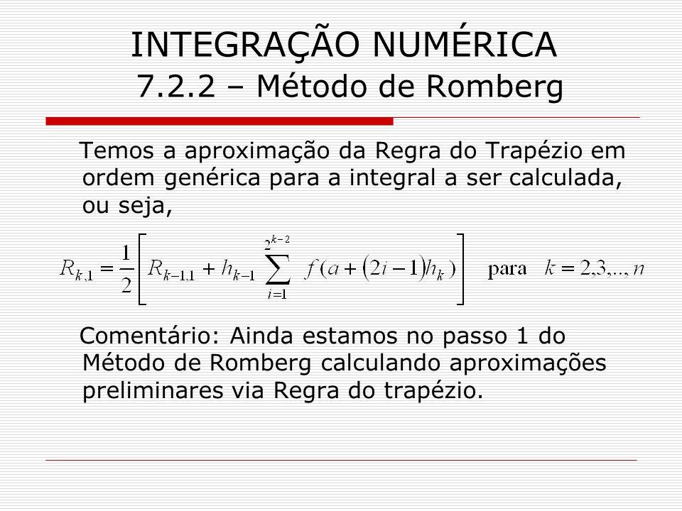 INTEGRAÇÃO NUMÉRICA 7.2.2 – Método de Romberg Temos a aproximação da Regra do Trapézio em ordem genérica para a integral a ser calculada, ou seja, Com