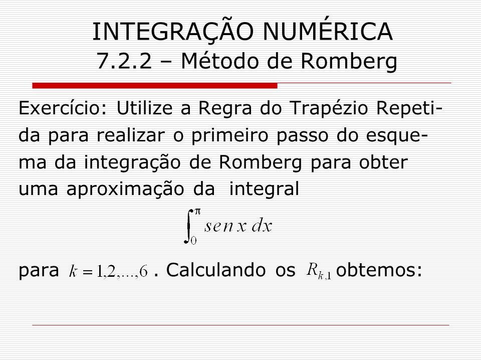 INTEGRAÇÃO NUMÉRICA 7.2.2 – Método de Romberg Exercício: Utilize a Regra do Trapézio Repeti- da para realizar o primeiro passo do esque- ma da integra