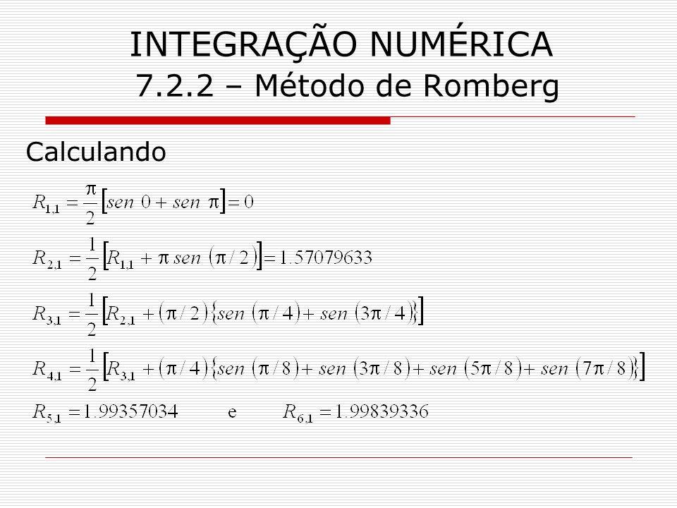 INTEGRAÇÃO NUMÉRICA 7.2.2 – Método de Romberg Calculando