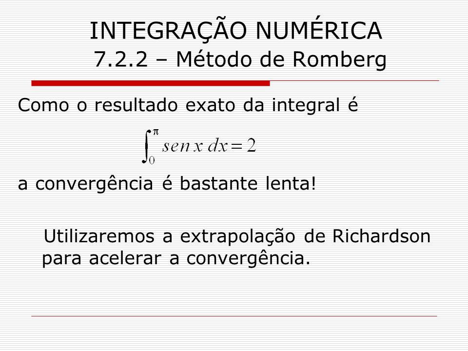 INTEGRAÇÃO NUMÉRICA 7.2.2 – Método de Romberg Como o resultado exato da integral é a convergência é bastante lenta! Utilizaremos a extrapolação de Ric