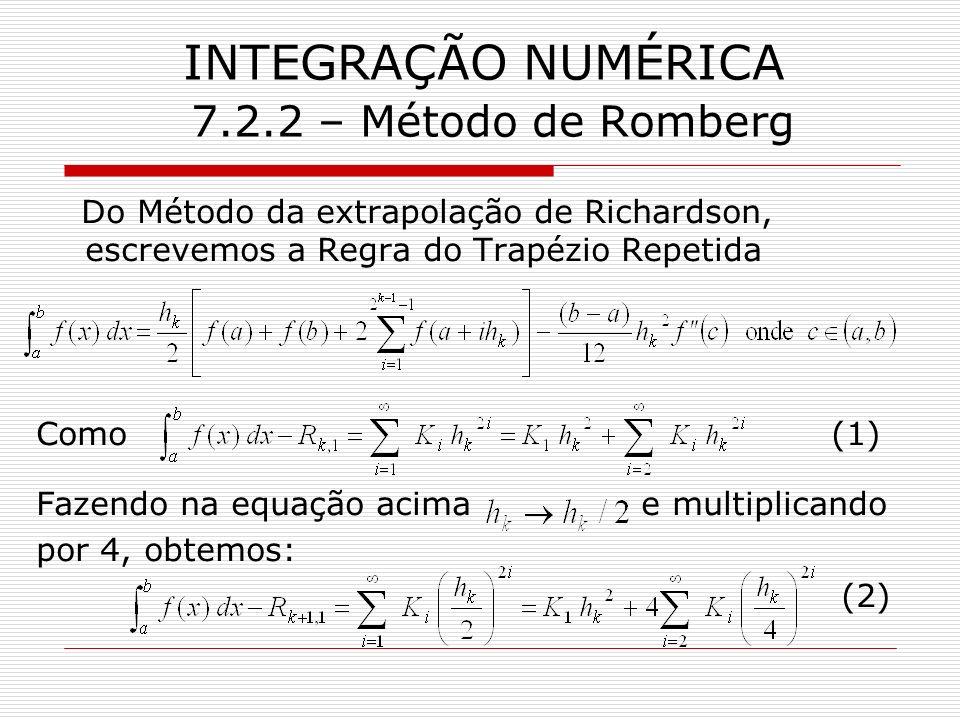 INTEGRAÇÃO NUMÉRICA 7.2.2 – Método de Romberg Do Método da extrapolação de Richardson, escrevemos a Regra do Trapézio Repetida Como (1) Fazendo na equ