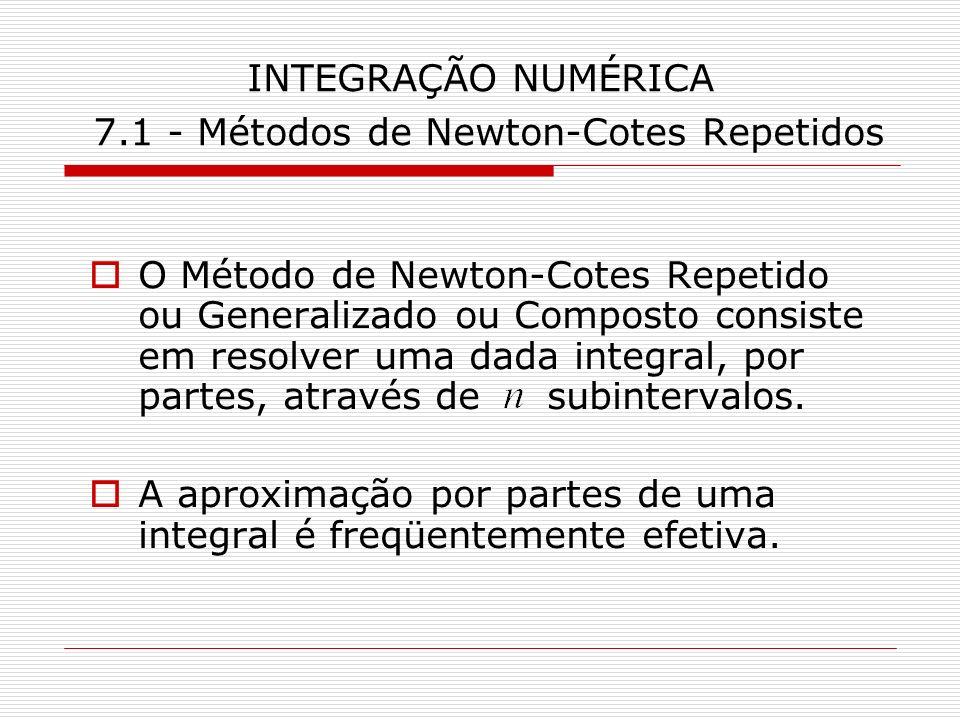 INTEGRAÇÃO NUMÉRICA 7.1 - Métodos de Newton-Cotes Repetidos O Método de Newton-Cotes Repetido ou Generalizado ou Composto consiste em resolver uma dad