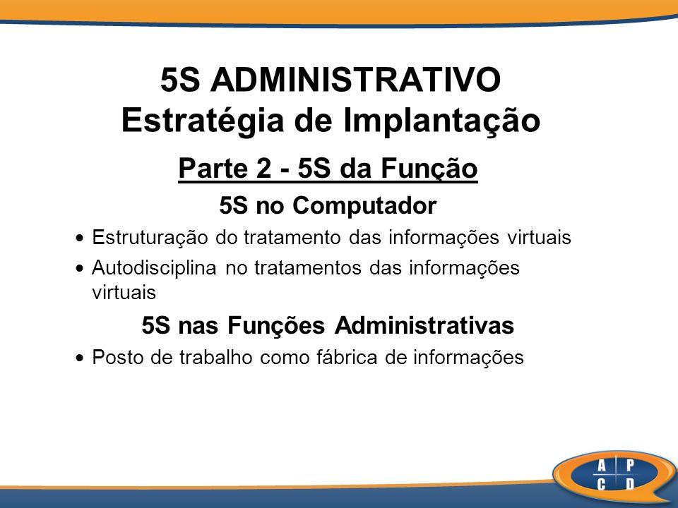 5S ADMINISTRATIVO Estratégia de Implantação Parte 2 - 5S da Função 5S no Computador Estruturação do tratamento das informações virtuais Autodisciplina