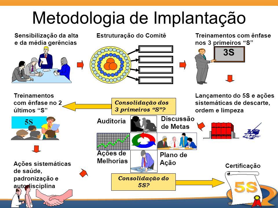 Metodologia de Implantação Sensibilização da alta e da média gerências Auditoria Plano de Ação Ações de Melhorias Consolidação dos 3 primeiros S? Estr