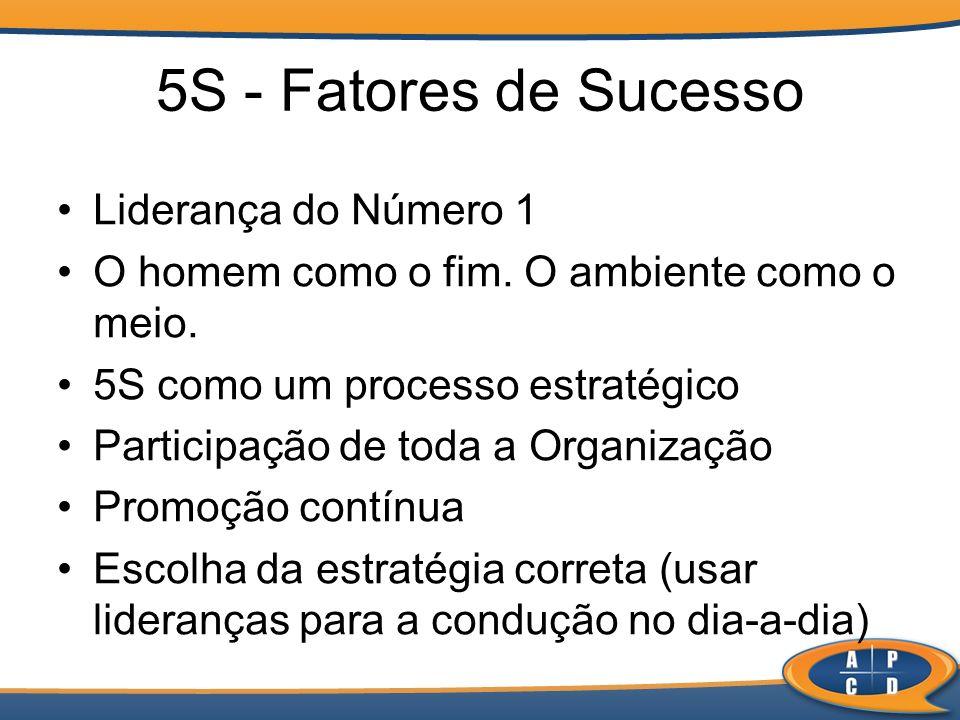 5S - Fatores de Sucesso Liderança do Número 1 O homem como o fim. O ambiente como o meio. 5S como um processo estratégico Participação de toda a Organ