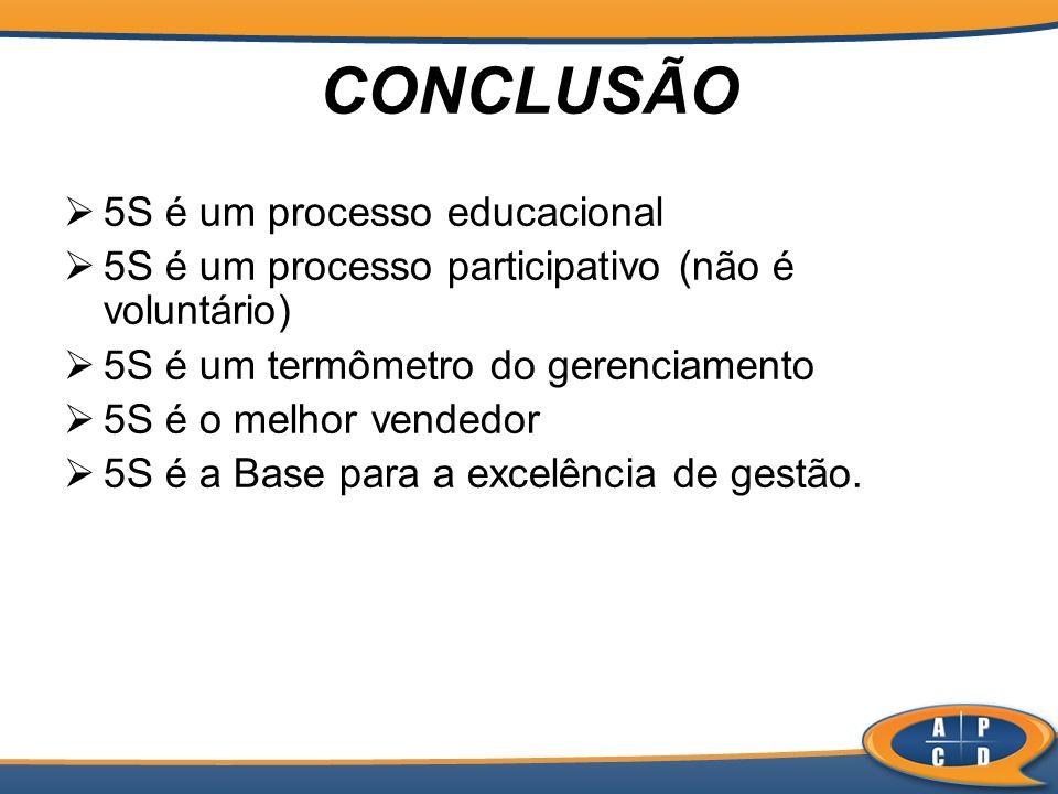 CONCLUSÃO 5S é um processo educacional 5S é um processo participativo (não é voluntário) 5S é um termômetro do gerenciamento 5S é o melhor vendedor 5S