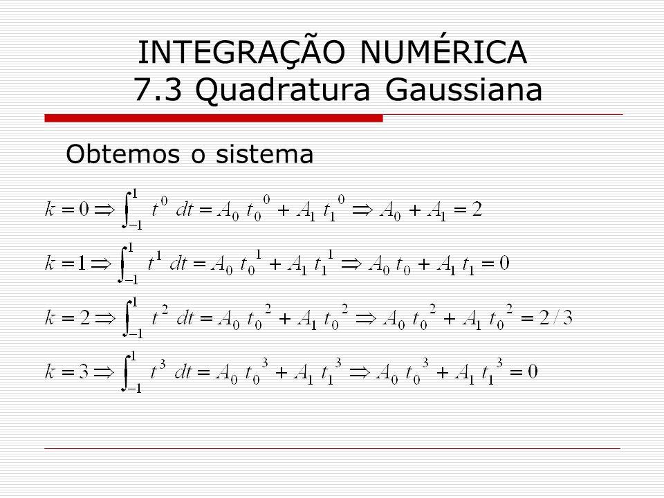 INTEGRAÇÃO NUMÉRICA 7.3 Quadratura Gaussiana Obtemos o sistema